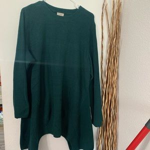 LOGO by Lori Goldstein 2X COTTON  SWEATER Green
